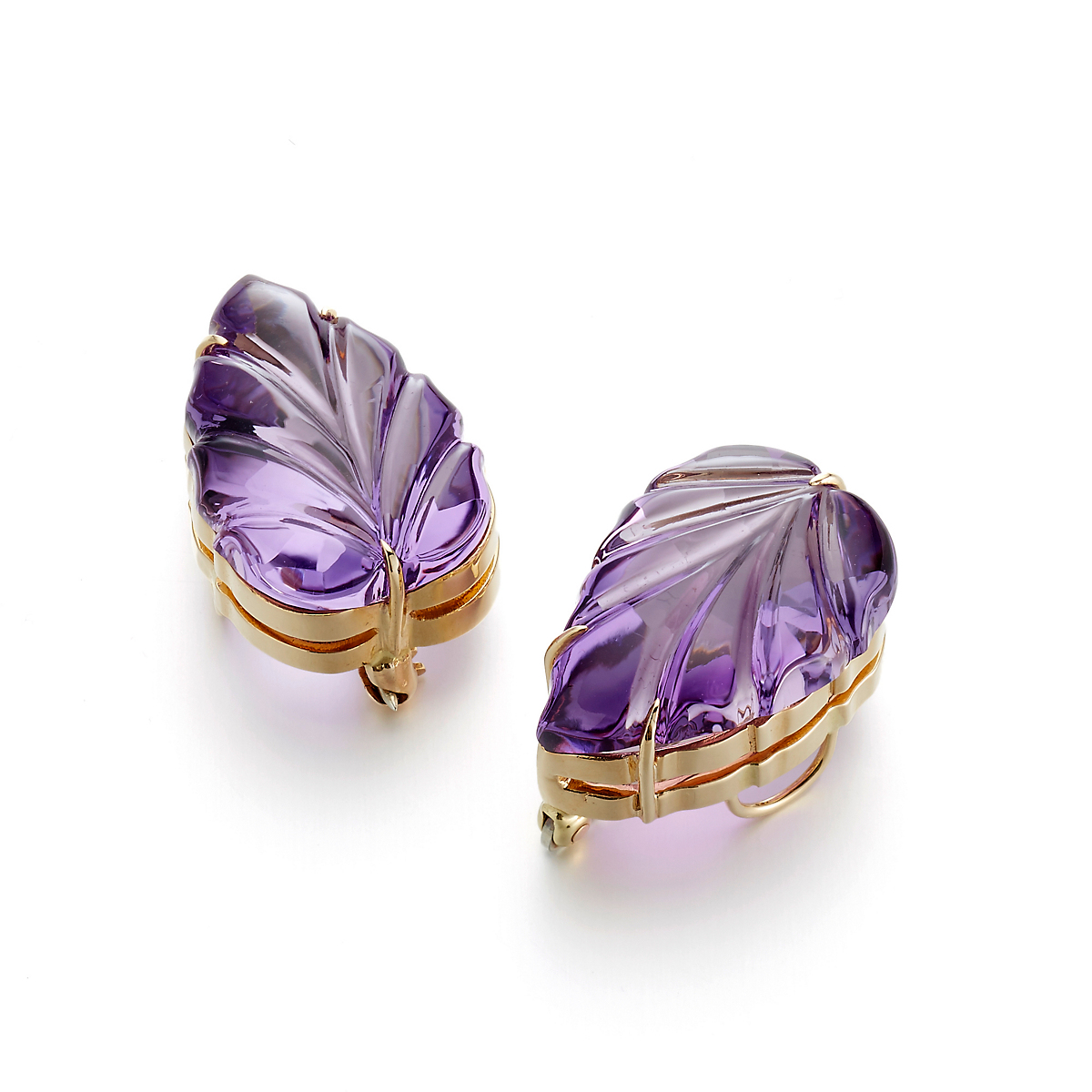 Gump's Pair of Carved Amethyst Leaf Brooches