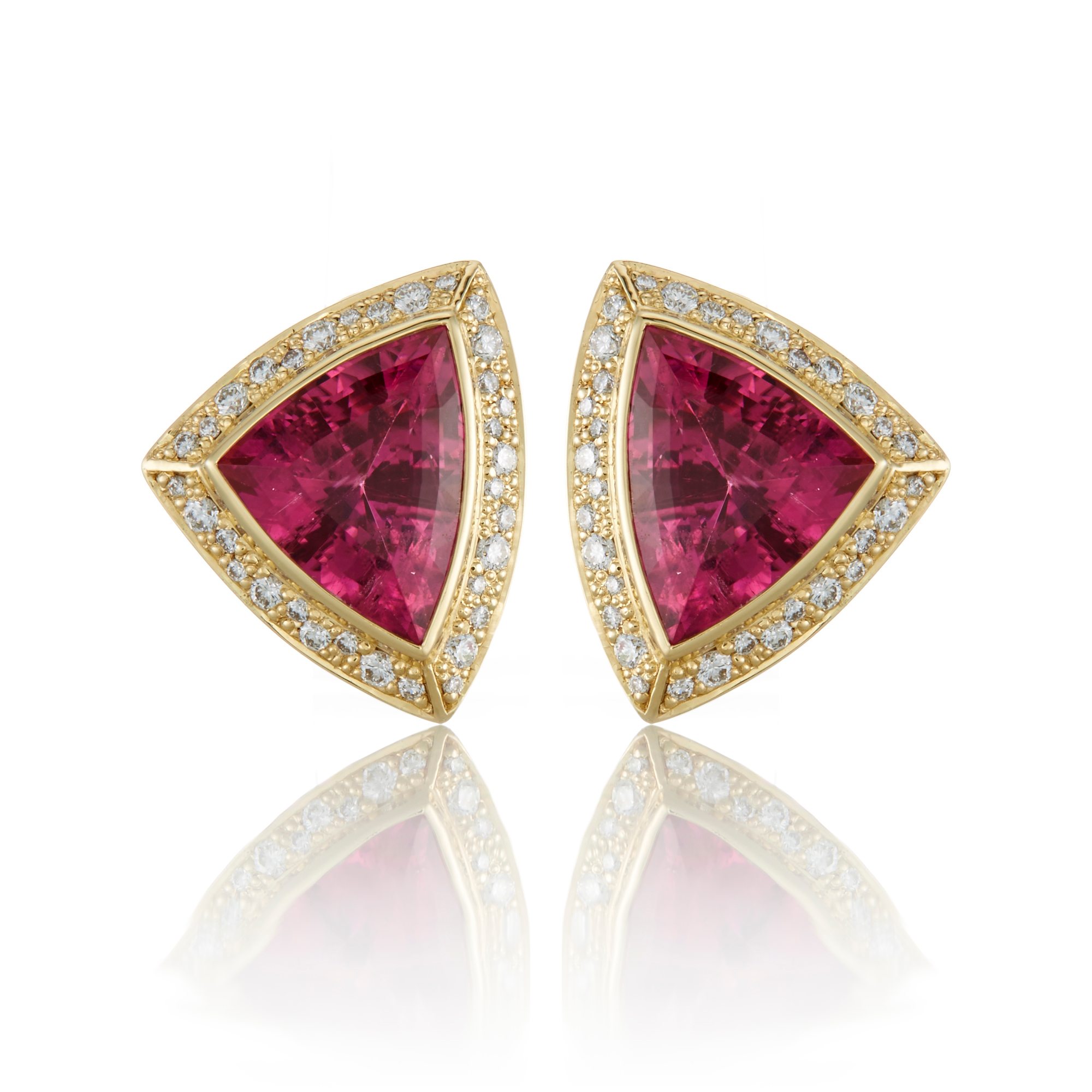 Gump's Pink Tourmaline and Diamond Shield Cut Earrings