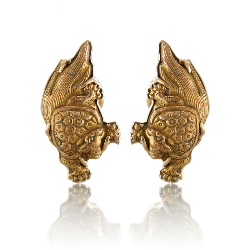 Gump's Antique Japanese Minogame Gold Earrings
