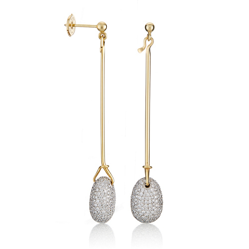 Georg Jensen Pavé Diamond Dew Drop Gold Earrings