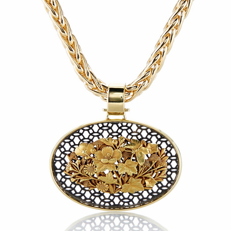 Gump's Gold and Silver Antique Japanese Obi-dome of the Seven Grasses of Autumn Pendant