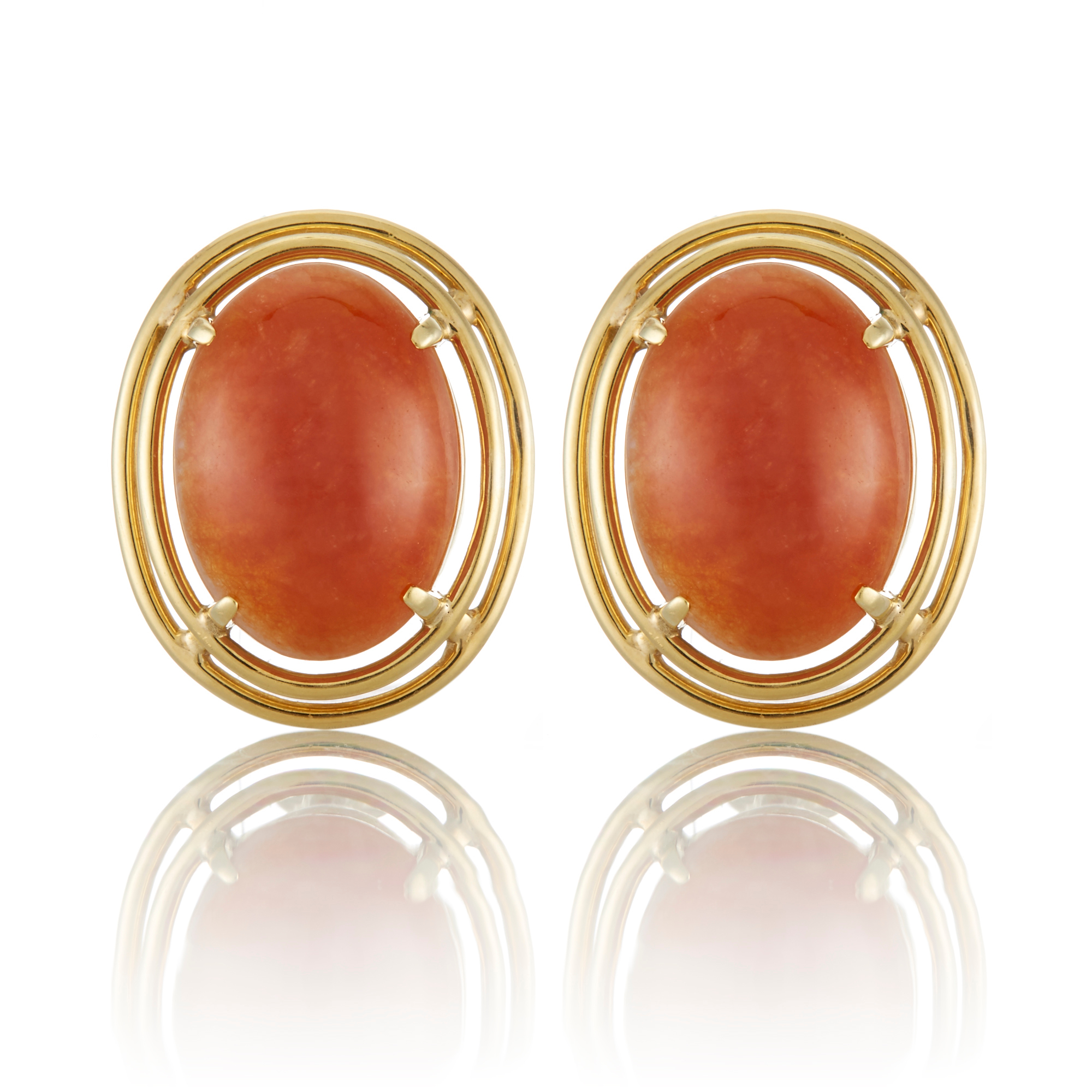 Gump's Estate Russet Red Jadeite  Cabochon Earrings