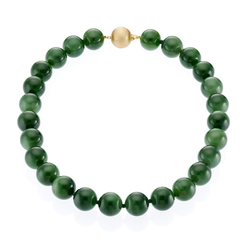 Gump's Green Nephrite and Gold Necklace