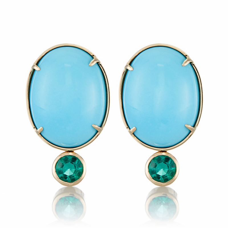 Gump's Turquoise Cabochon and Faceted Emerald Earrings