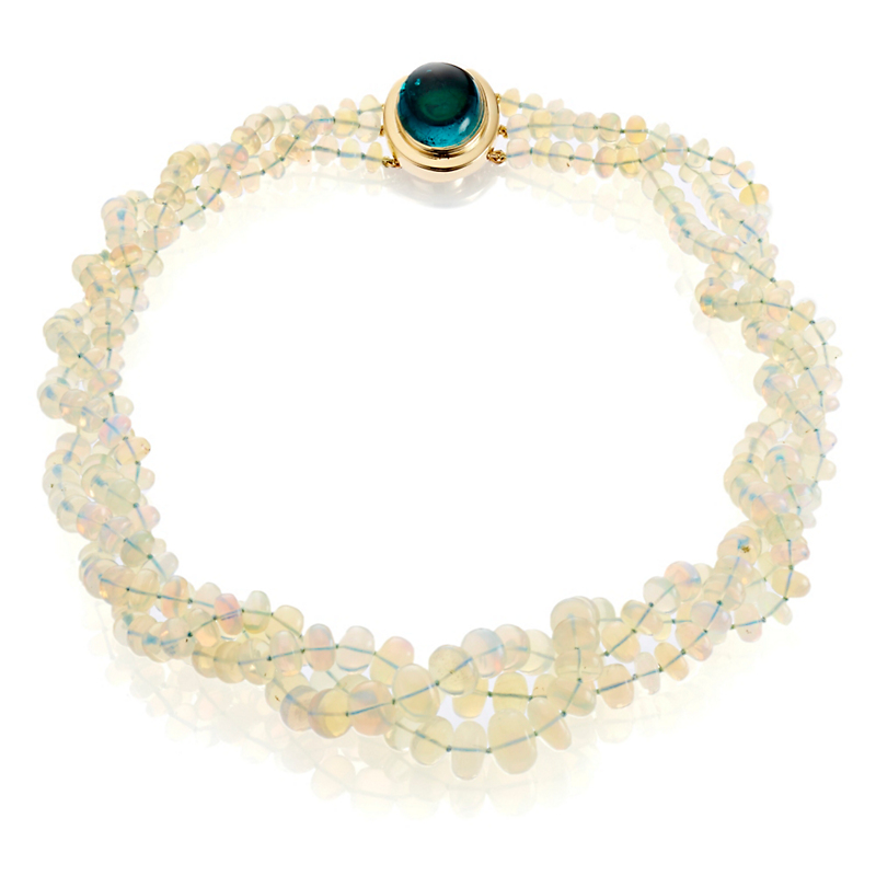 Gump's Three Strand Ethiopian Opal and Green Tourmaline Necklace