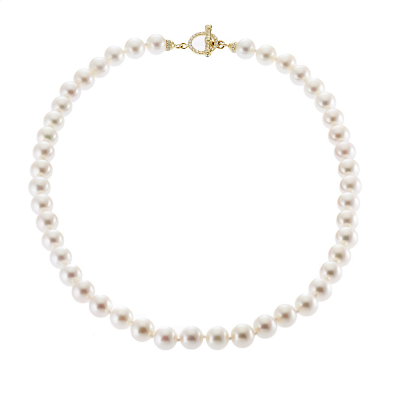 Gump's Freshwater Pearl and Diamond Toggle Necklace