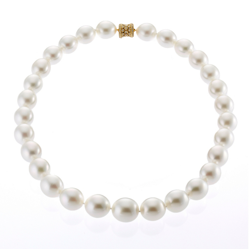 Gump's Iridescent Oval South Sea Pearl and Diamond Necklace