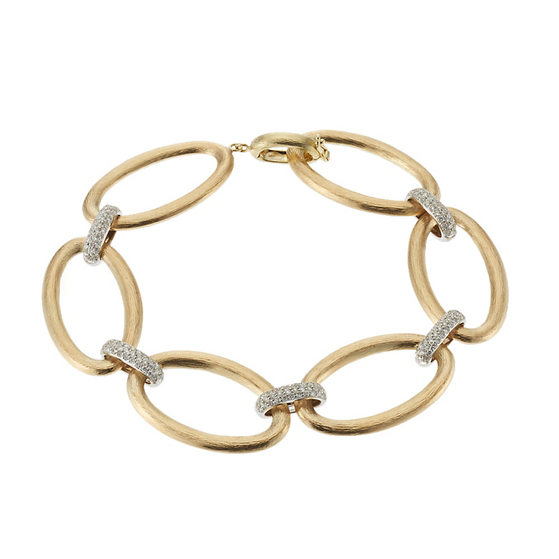 Gold Open Oval and Diamond Link Bracelet