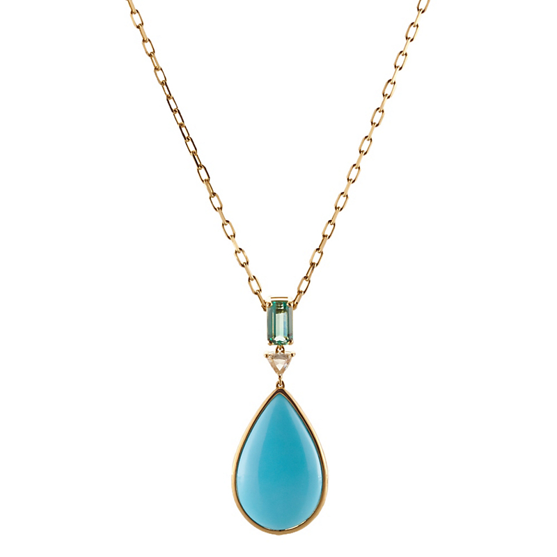 Gump's Turquoise Teardrop, Green Tourmaline and Diamond Pendant Necklace