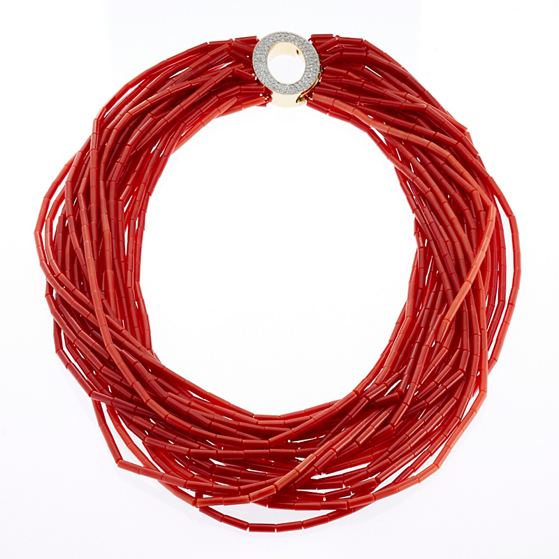 Gump's Red Coral and Pavé Diamond Torsade Necklace