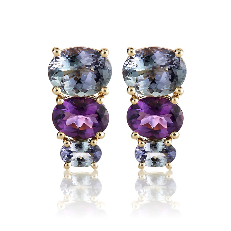 Gump's Peacock Tanzanite & Uruguayan Amethyst Stacked Earrings