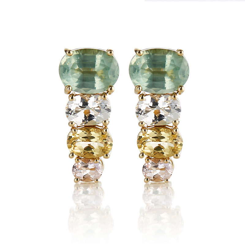 Gump's Mint Kyanite, Yellow Beryl & Pink Topaz Stacked Earrings