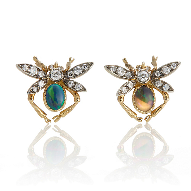 Cicada Diamond & Opal Wasp Earrings