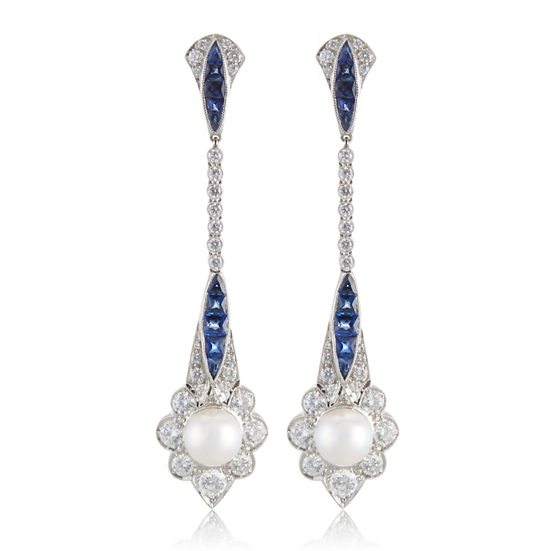 Cicada Diamond, Sapphire and Akoya Pearl Earrings