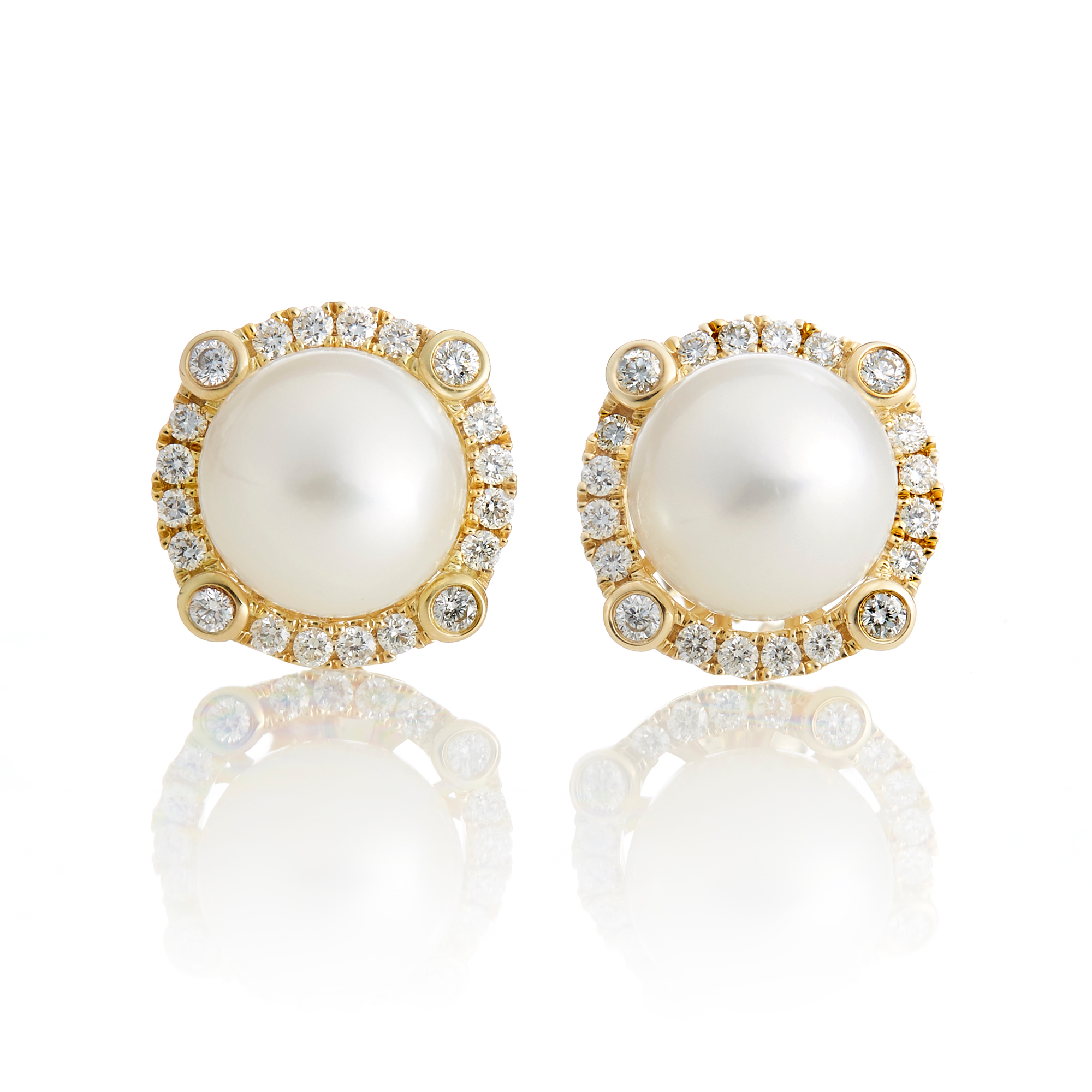 Gump's Fresh Water Pearl with 4 Point Diamond Halo Earrings