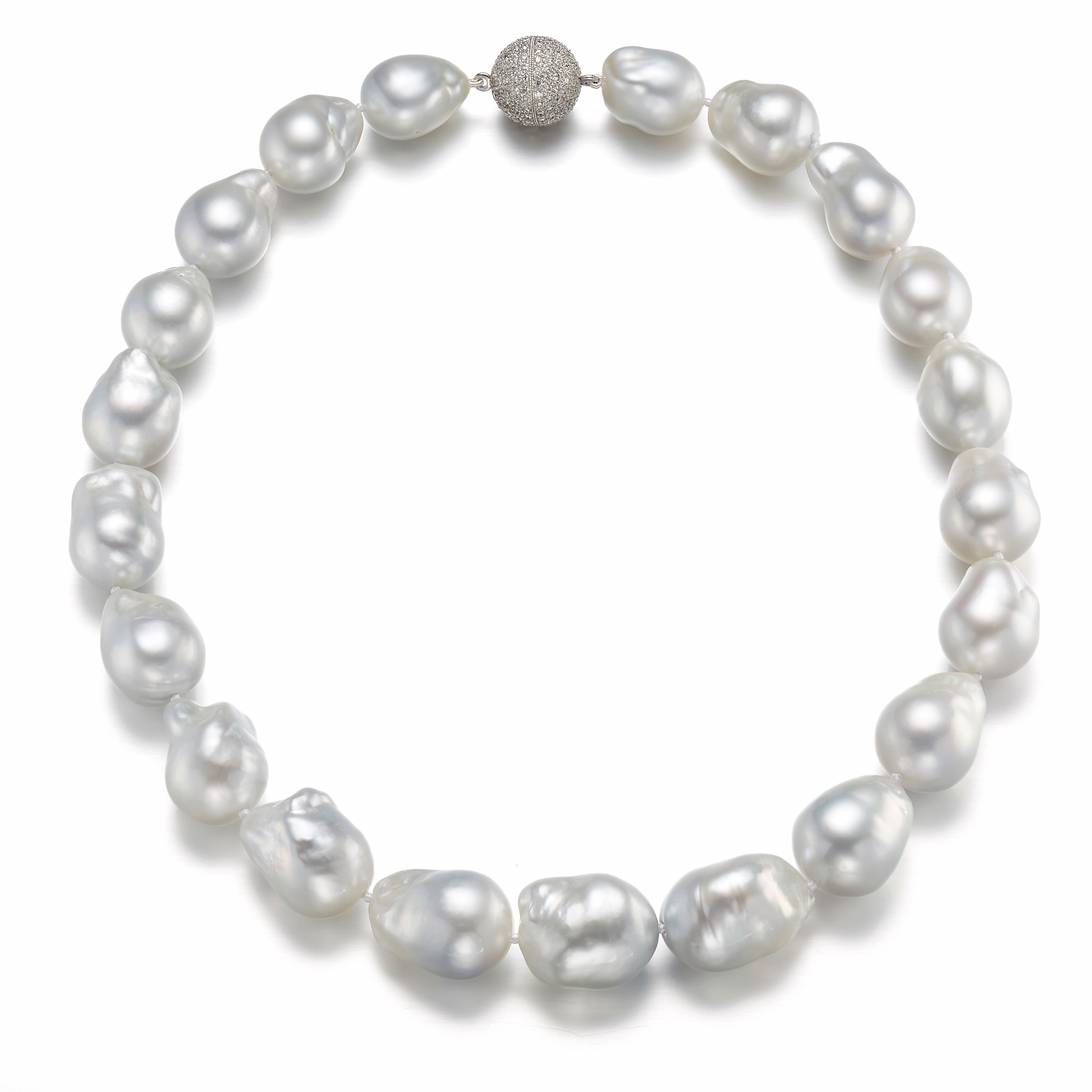 Gump's Baroque Silvery White South Sea Pearl & Diamond Necklace