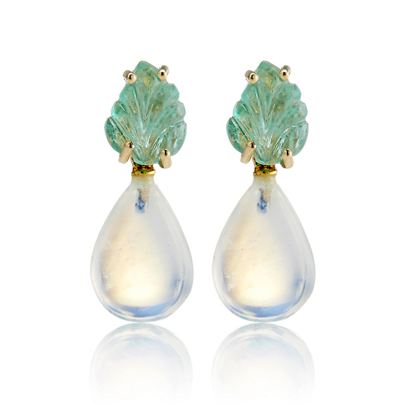 Gump's Emerald Leaf & Moonstone Teardrop Earrings