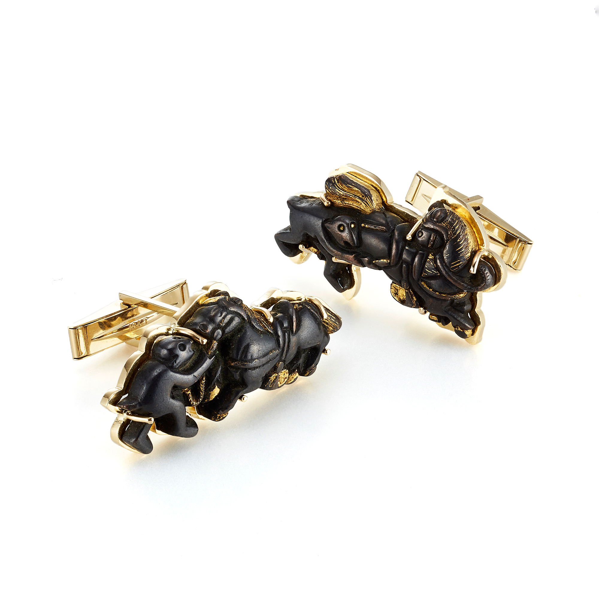 Gump's Monkey & Horse Antique Menuki Cufflinks
