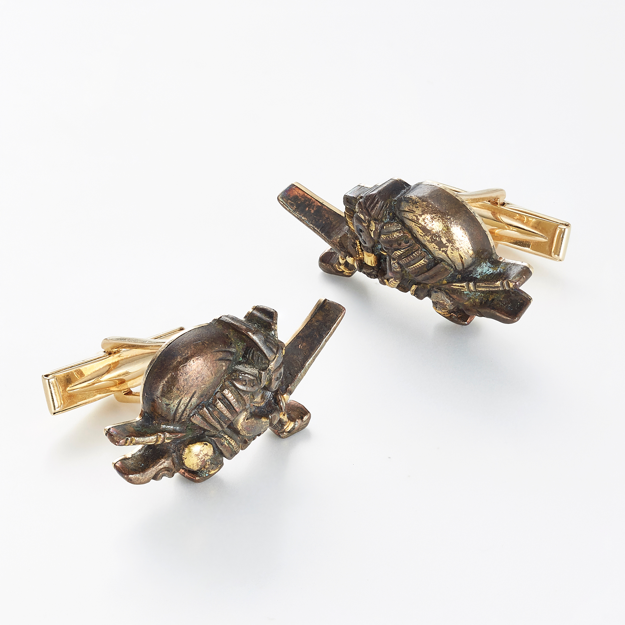 Gump's Battling Samurai Antique Menuki Cufflinks