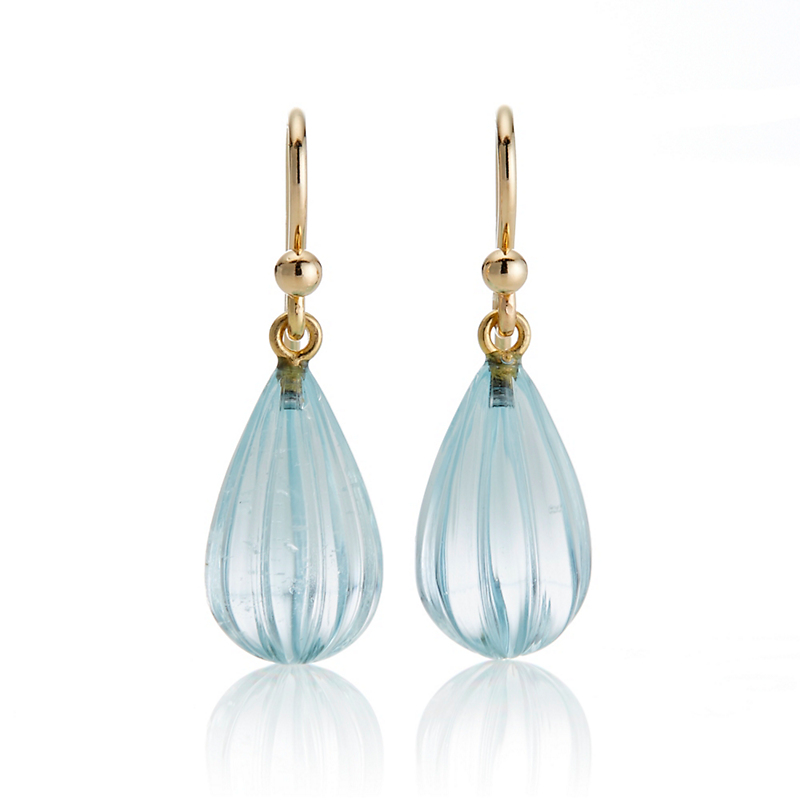 Gump's Fluted Aquamarine Drop Earrings