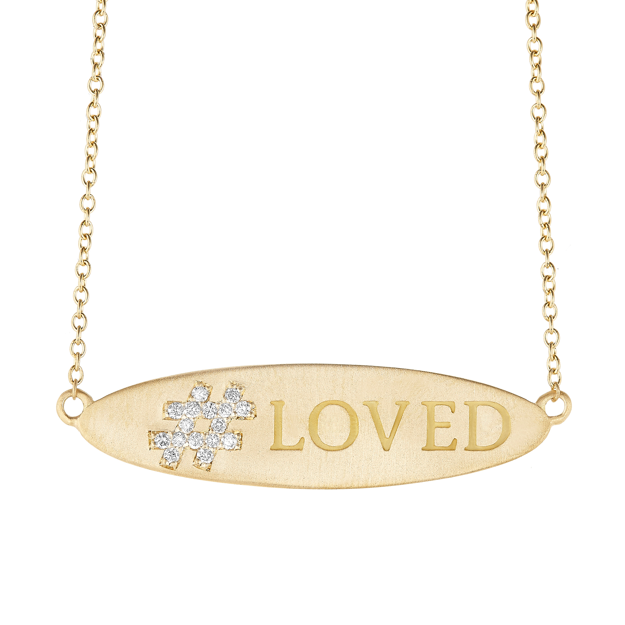 Carelle Diamond Hashtag Loved Necklace