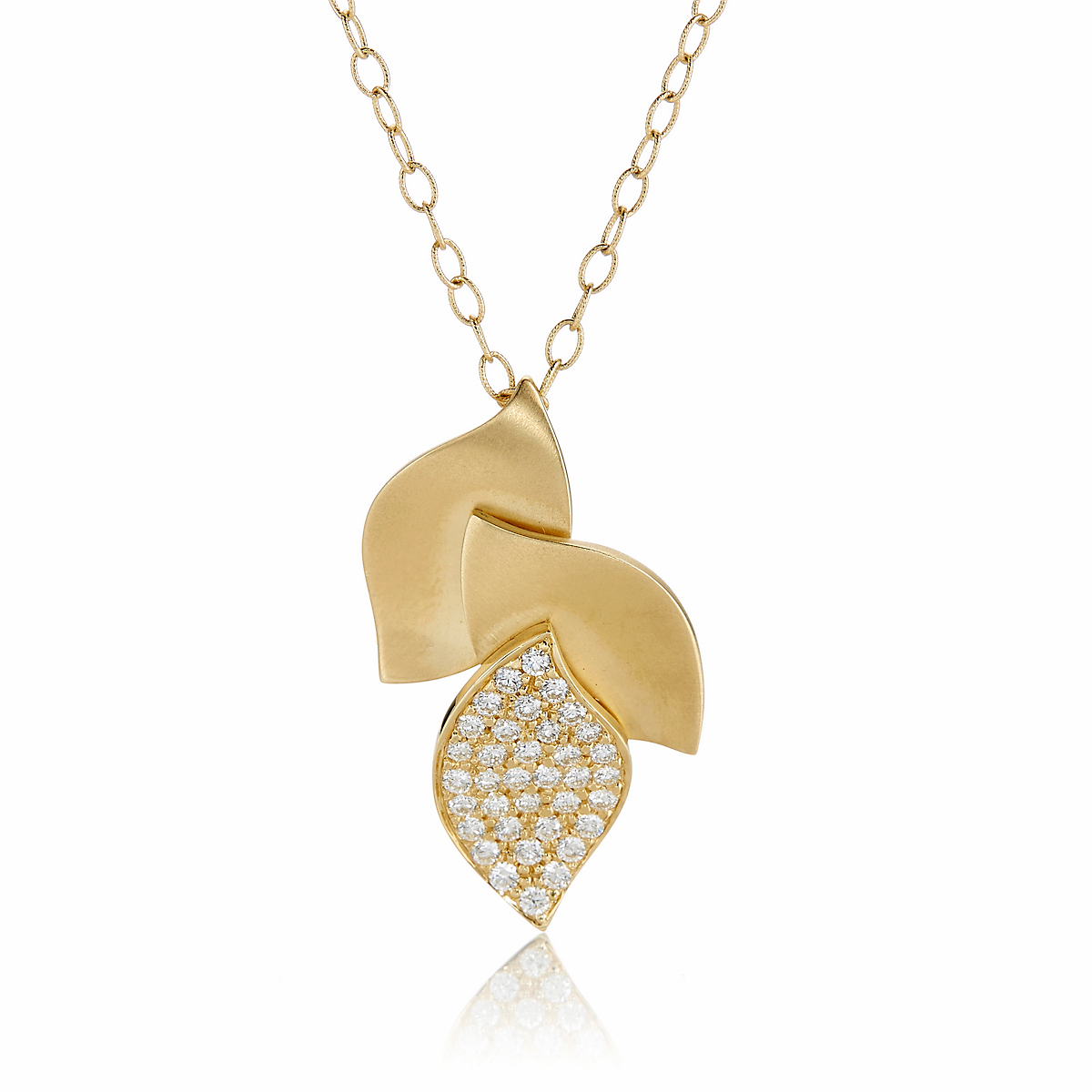 Carelle Lotus Pavé Diamond Pendant Necklace