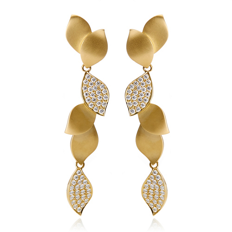 Carelle Pavé Diamond Lotus Drop Earrings