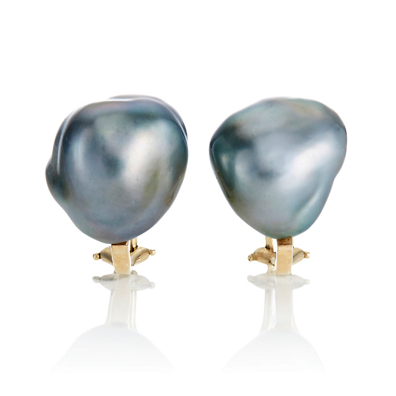 Gump's Grey Akoya Baroque Earrings