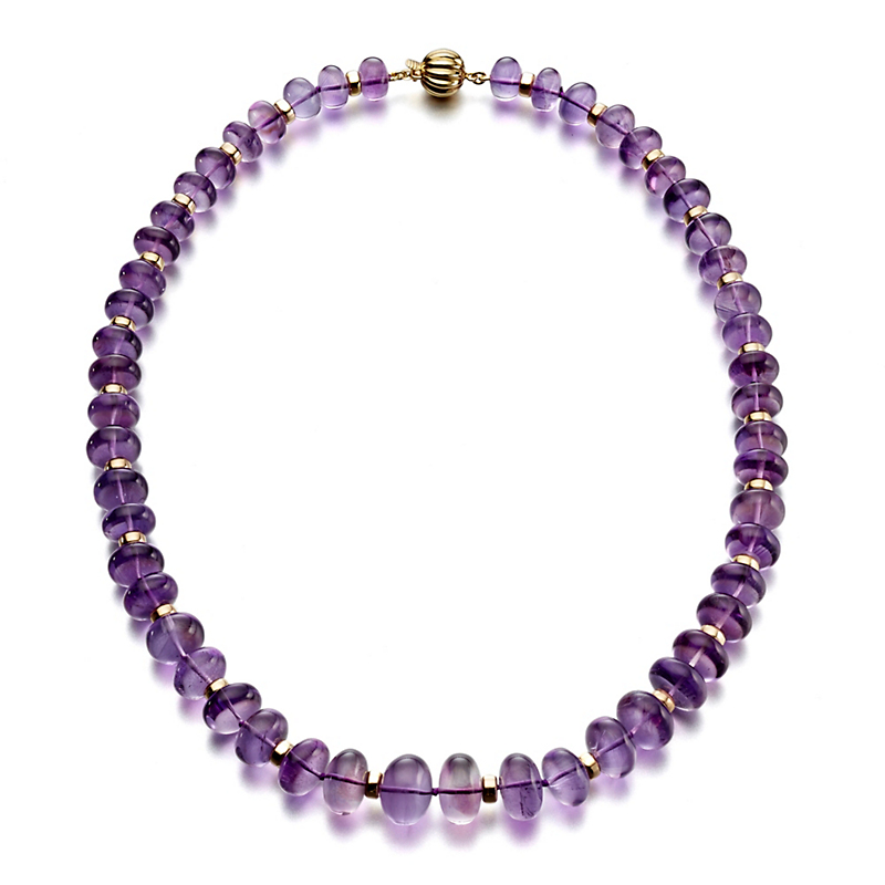 Gump's Graduated Smooth Amethyst & Rondelle Necklace