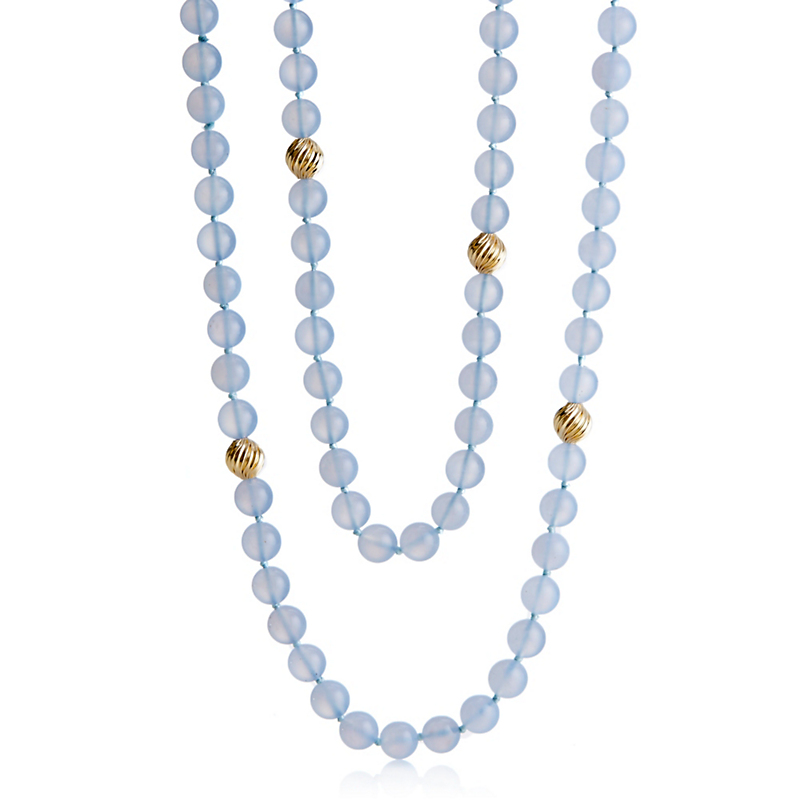 Chalcedony Bead Rope Necklace