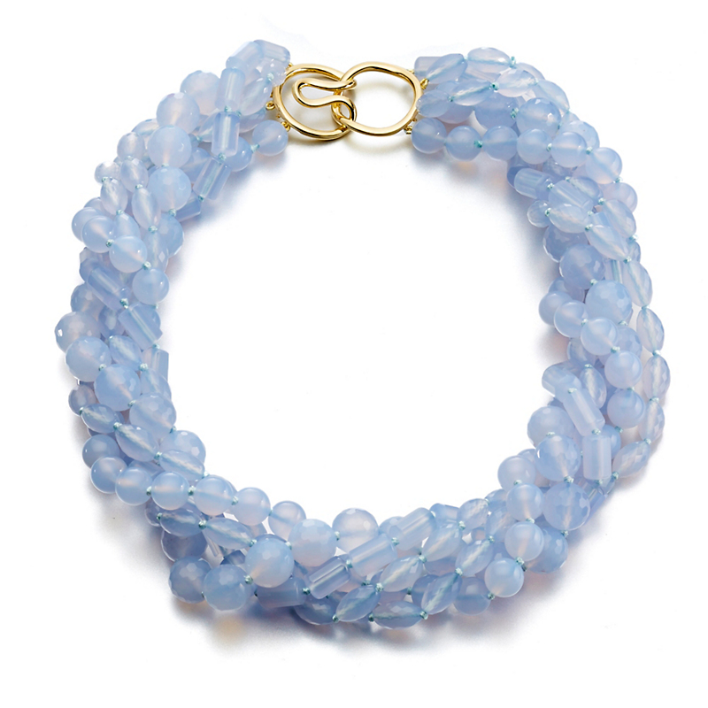 Gump's Five Strand Multi Chalcedony Twist Necklace
