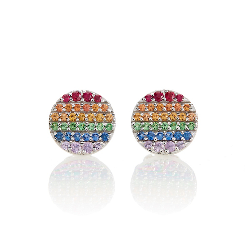 Gump's Rainbow Sapphire Circle Silver Stud Earrings