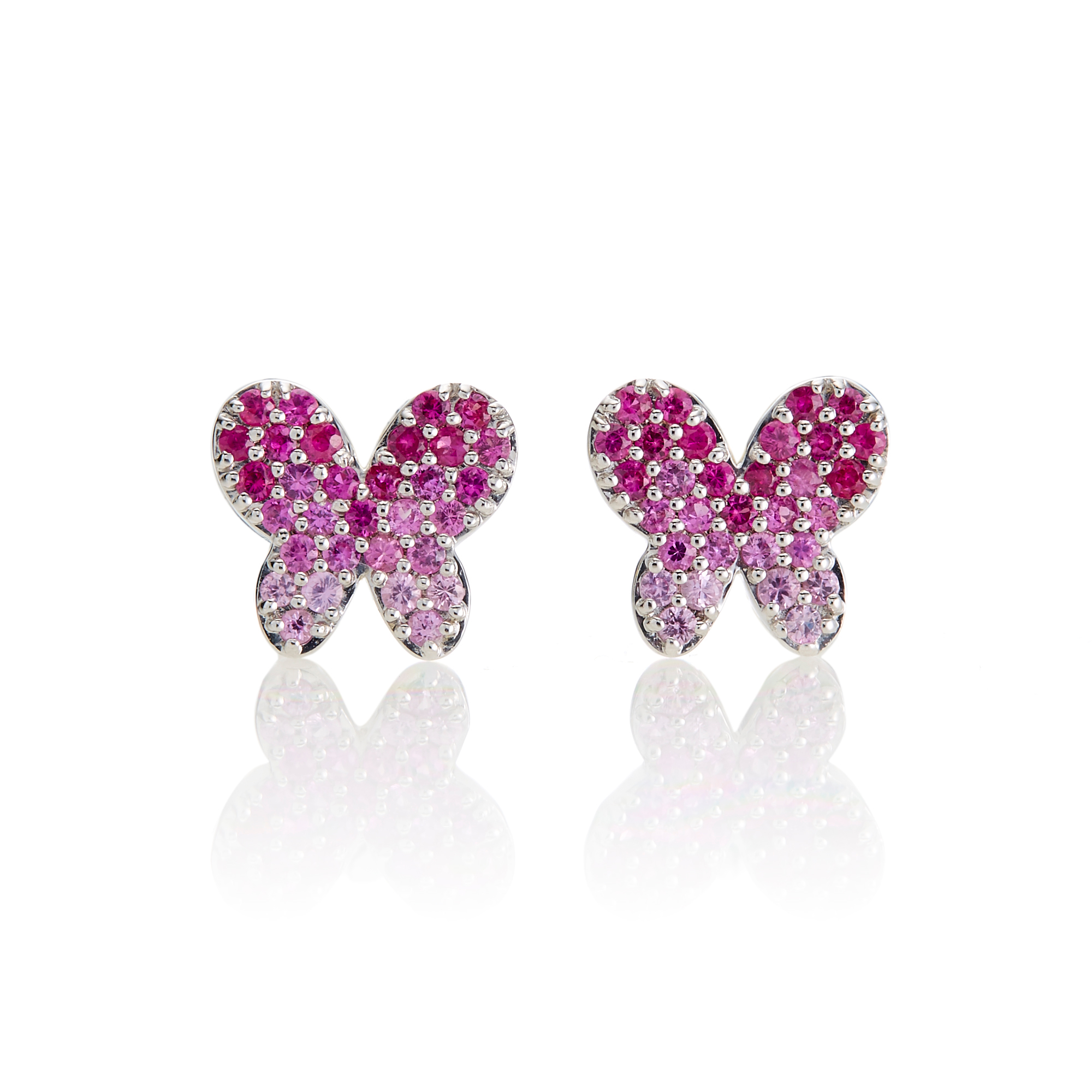 Gump's Ombré Pink Sapphire Butterfly Silver Stud Earrings