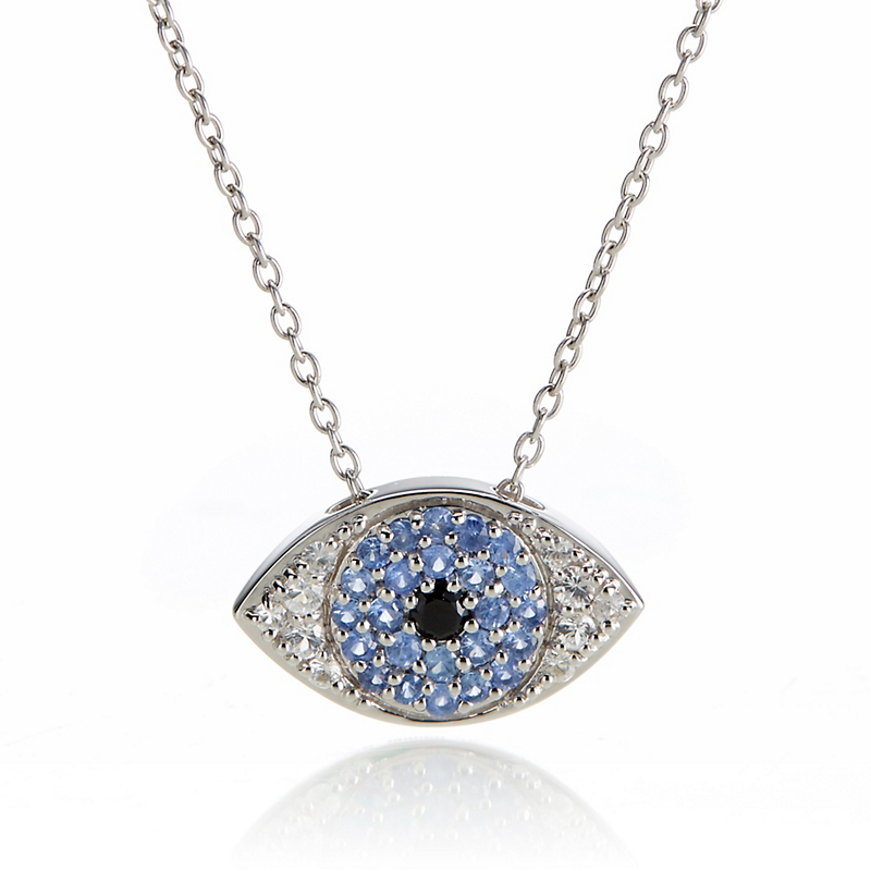 Gump's Blue & White Sapphire Evil Eye Silver Pendant Necklace