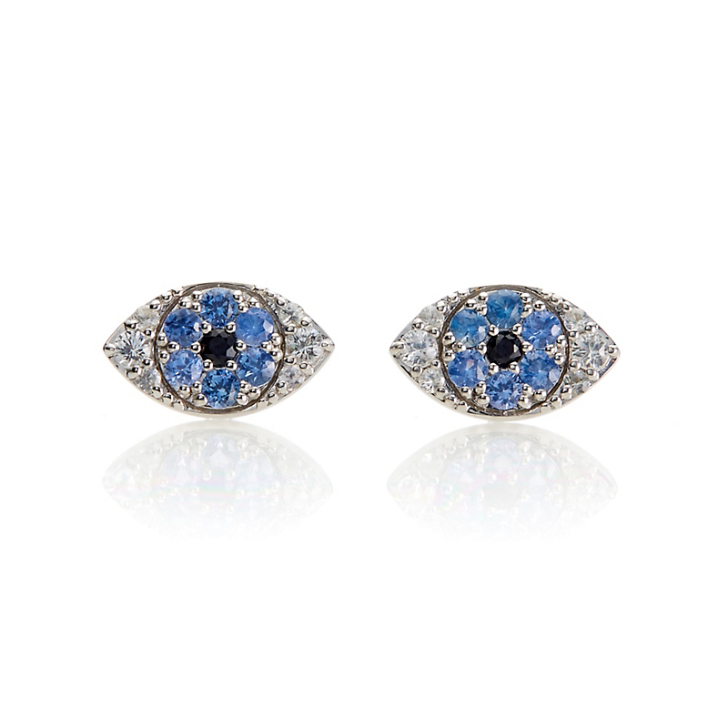 Gump's Blue and White Sapphire Evil Eye Silver Stud Earrings