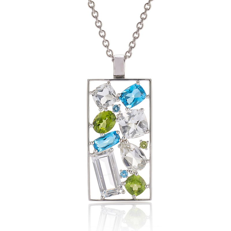 Gump's Multi-Gemstone Silver Pendant Necklace