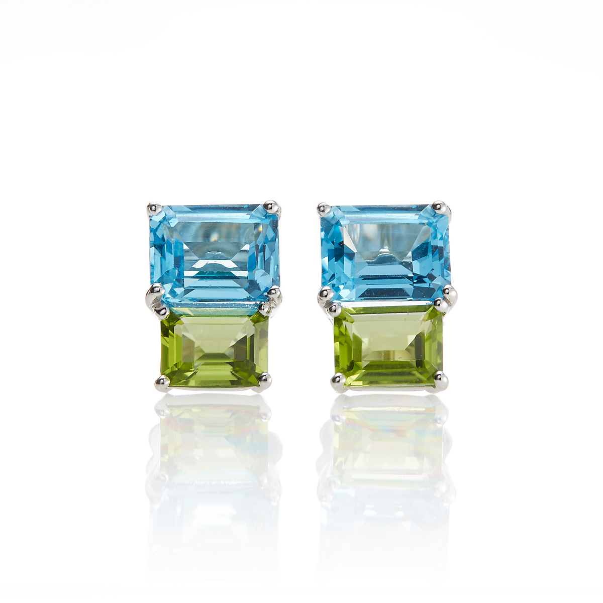 Gump's Blue Topaz Peridot Square Stacked Earrings