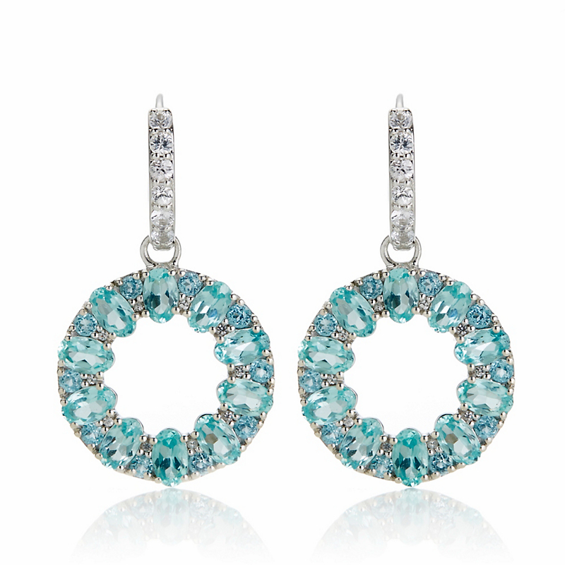 Gump's Apatite & White Sapphire Open Circle Hoop Earrings