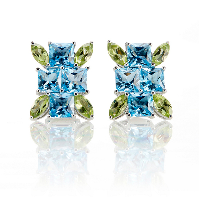 Swiss Blue Topaz Peridot Burst Earrings