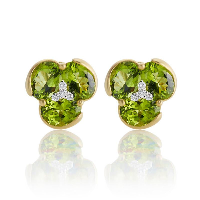 Faceted Peridot and Diamond Cluster Earrings