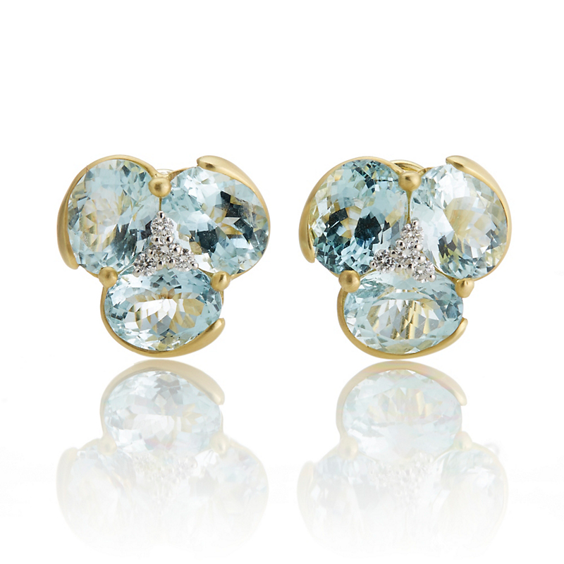 Faceted Aquamarine & Diamond Cluster Earrings