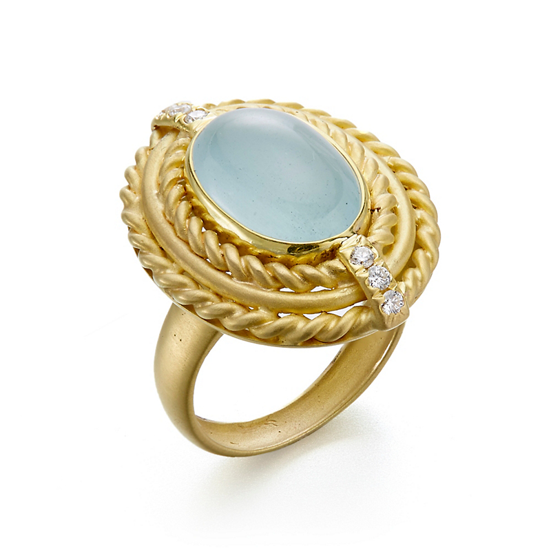 Aquamarine Cabochon and Diamond Matte Twist Ring