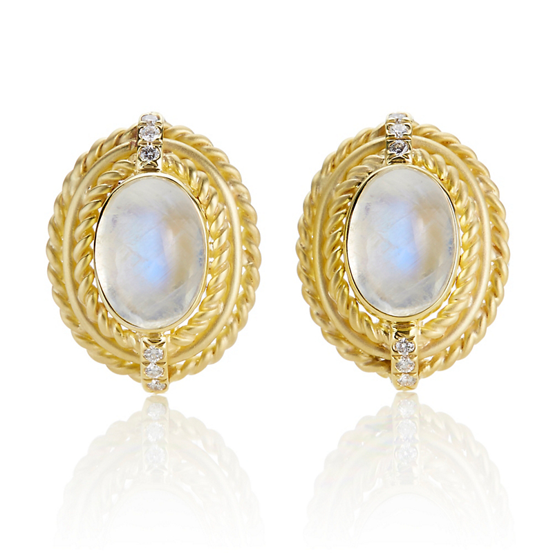 Moonstone Cabochon and Diamond Matte Twist Earrings