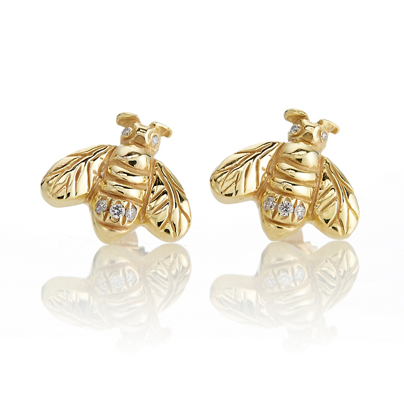 Gold & Diamond Bee Stud Earrings