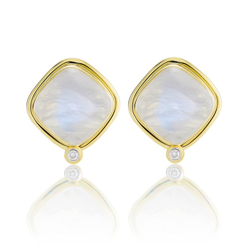 Offset Square Moonstone and Diamond Earrings