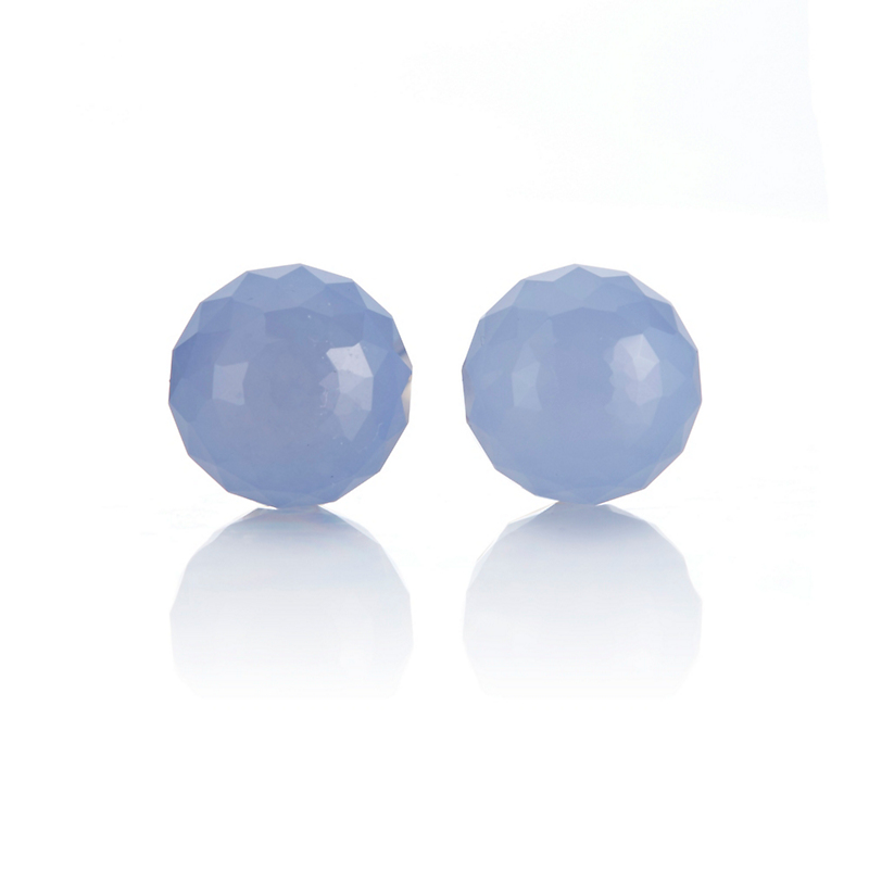 Gump's Faceted Chalcedony Bead Stud Earrings