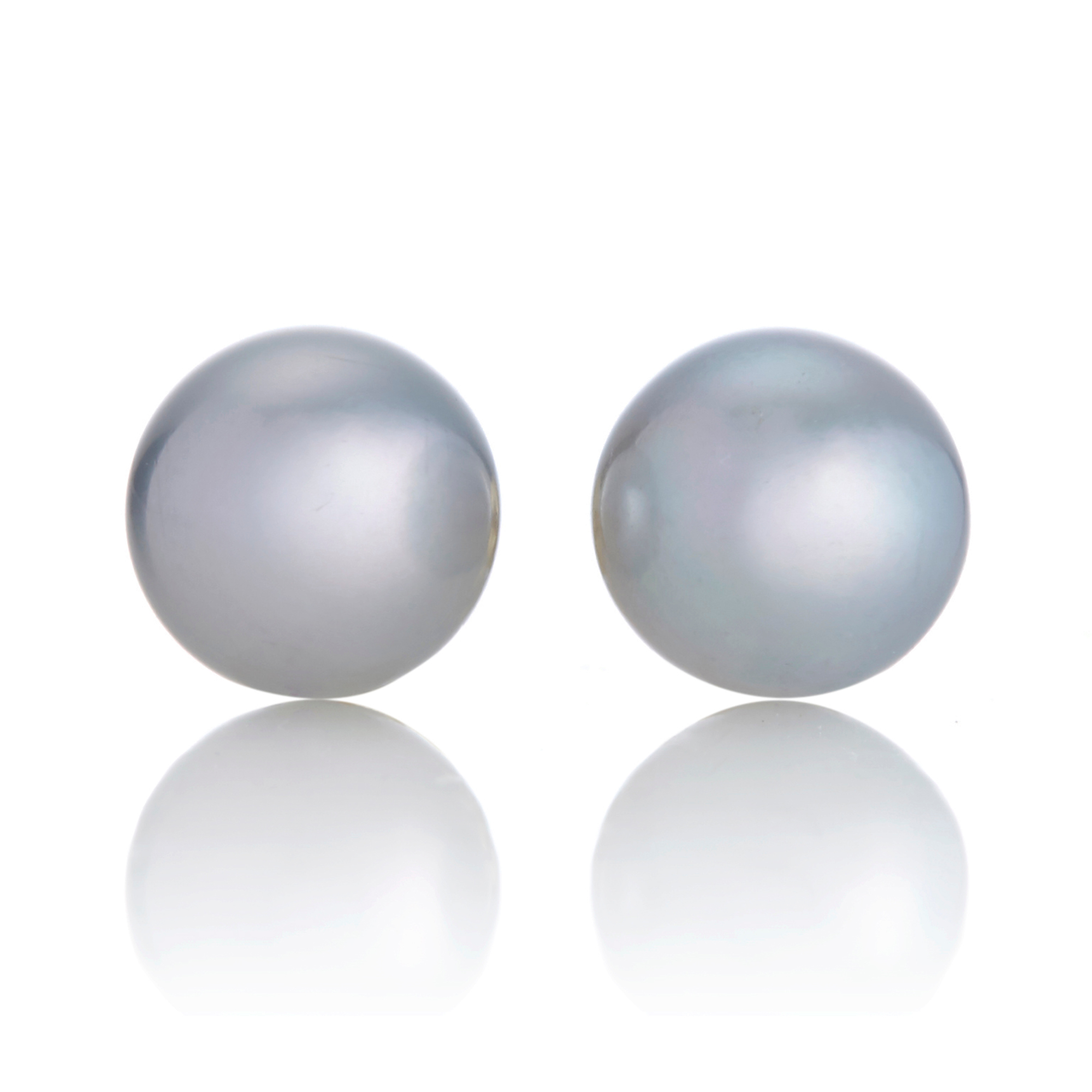 Gump's Blue Grey Akoya Pearl Round Stud Earrings