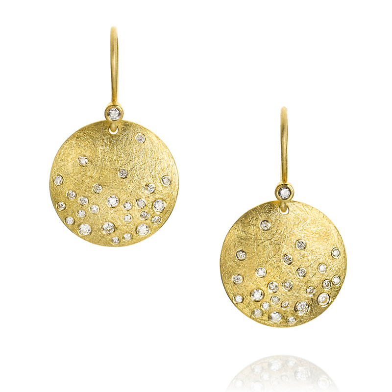 Todd Reed Round White Diamond Disc Drop Earrings