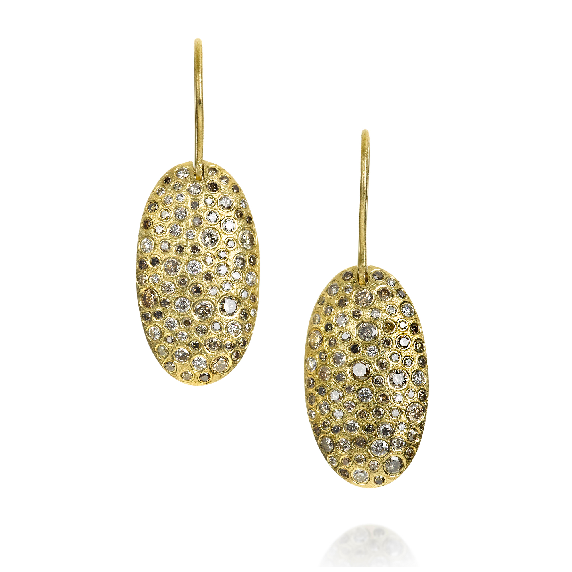 Todd Reed Diamond Mélange Gold Oval Drop Earrings
