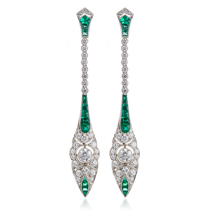 Cicada Diamond and Emerald Long Navette Earrings
